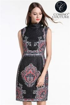 Comino Couture Vintage Beaded Skater Dress