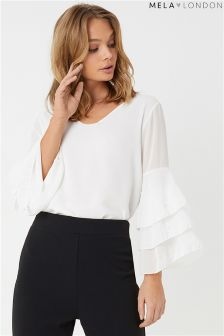 Mela London Trumpet Sleeve Pearl Blouse