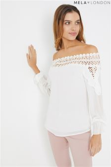 Mela London Lace Bardot Blouse