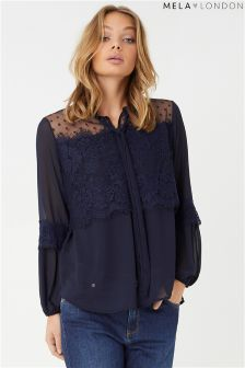 Mela London Pussybow Fluted Sleeve Blouse