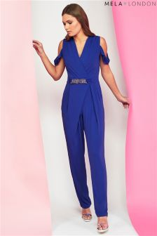 Mela London Cold Shoulder Belted Jumpsuit