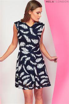 Mela London Feather Print Lace Skater Dress