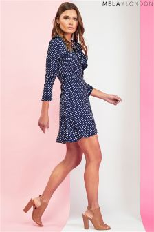 Mela London Wrap Front Frill Dress
