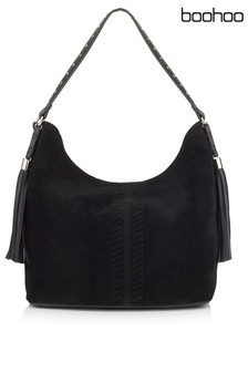 Boohoo Whip Stitch & Tassel Shoulder Bag
