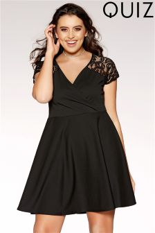Quiz Curve Lace Sleeve Skater Dress
