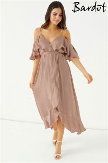 Bardot Satin Wrap Dress