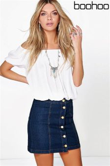 Boohoo Button Front Mini Skirt