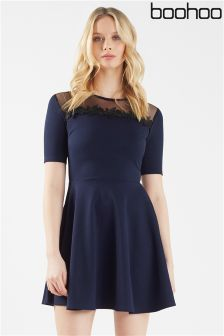 Boohoo Lace Panel Skater Dress