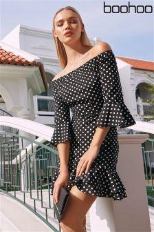 Boohoo Bardot Polkadot Dress