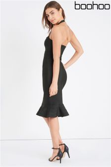 Boohoo Boutique Amal Bandage Peplum Hem Midi Dress