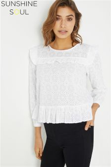 Sunshine Soul Broderie Anglais Frill Bib Blouse