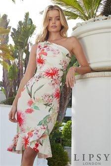 Облегающее платье на одно плечо со складками на подоле и рисунком Lipsy Amy