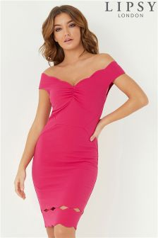 Lipsy Scalloped Ruched Bardot Bodycon Dress