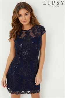 Lipsy Sequin Embroidered Shift Dress