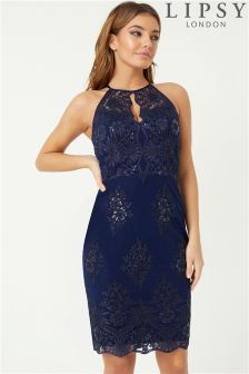Lipsy Sequin Lace Apron Bodycon Dress