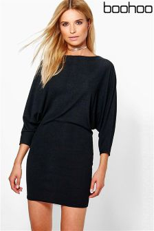 Boohoo Batwing Rib Bodycon Dress