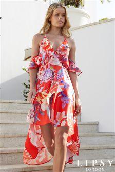 Lipsy Amy Print Cold Shoulder Midi Dress
