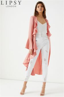 Lipsy Satin Duster Frill Dress Jacket