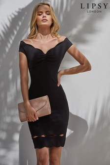 Lipsy Petite Scalloped Ruched Bardot Bodycon Dress
