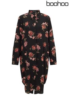 Boohoo Plus Floral Midi Shirt Dress