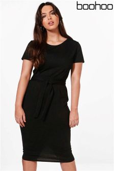 Boohoo Plus Jessica Tie Waist Midi Dress