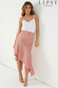 Lipsy Satin Asymmetric Hem Skirt