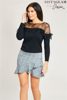 Sistaglam Loves Jessica Frill Asymmetric Mini Skirt