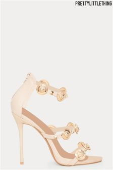 PrettyLittleThing Coin And Stud Tripple Strap Sandals