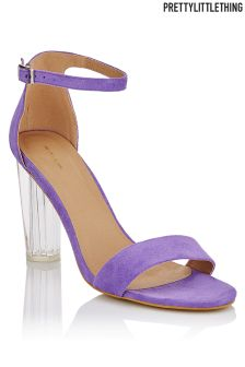 PrettyLittleThing Clear Block Heel Suede Sandals