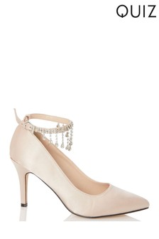 Quiz Jewelled Strap Pointed Satin Court Shoes