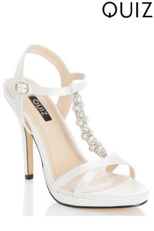 Quiz Satin Jewelled T-Bar Sandal