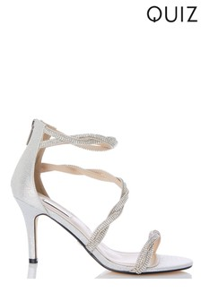 59a40cb8c3c1 Quiz Diamanté Twist Heeled Sandal