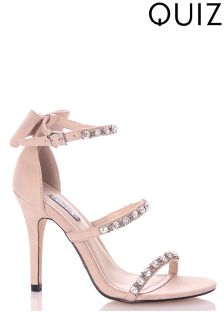 Quiz Jewel 3 Strap Faux Suede Heeled Sandals