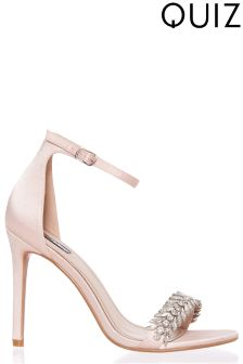 Quiz Satin Jewelled Heeled Sandals