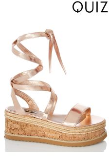Quiz Metallic Flatform Sandals
