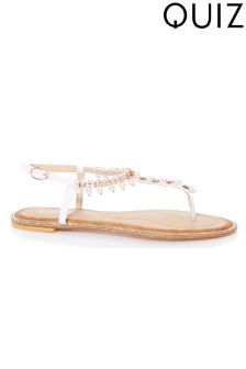 Quiz Flat Pearl Sandals