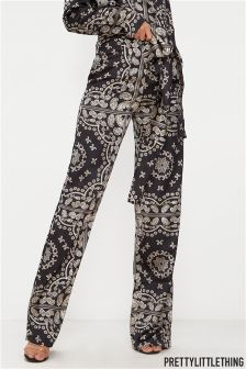 PrettyLittleThing Patterned Wide Leg Trousers