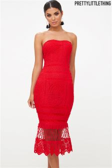 PrettyLittleThing Lace Bandeau Longline Midi Dress