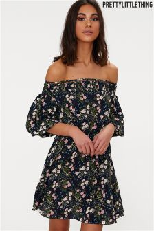 PrettyLittleThing Bardot Floral Dress