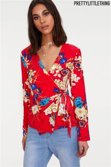 PrettyLittleThing Floral Detail Wrap Top
