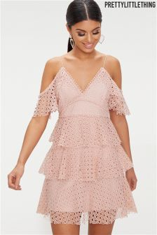 PrettyLittleThing Lace Cold Shoulder  Dress