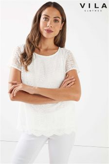 Vila Lace Short Sleeve T-Shirt