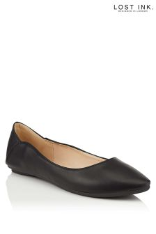 Lost Ink Beau Curved Ballerina Shoe