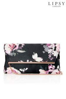 Lipsy Amber Print Gold Bar Detail Clutch Bag