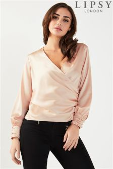 Lipsy Satin Wrap Blouse