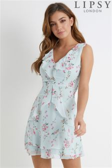 Lipsy V neck Ruffle Floral Dress