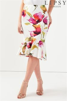 Lipsy Flute Hem High Low Skirt