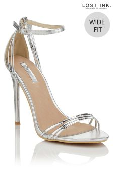 Lost Ink Wide Fit Strap Heeled Sandals