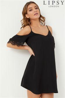 Lipsy Cold Shoulder Lace Mini Dress
