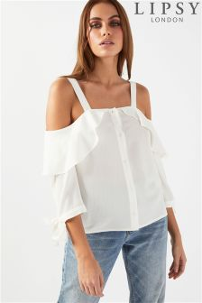 Lipsy Button Front Cold Shoulder Top